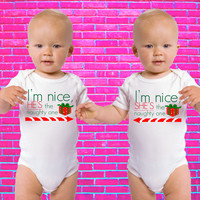 I'm The Nice One He's / She's The Naughty One Merry Christmas Twin Gerber Onesuit
