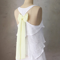 CITRUS AURA - Romantic white flowy tier blouse // pastel lemon yellow // chiffon sash bow // tunic // tank top // racerback //