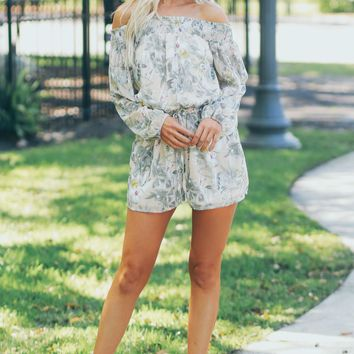 Off The Shoulder Tropical Print Romper Taupe