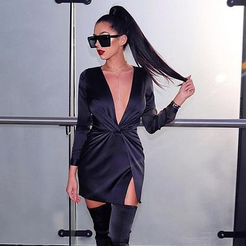 Women Fashion Solid Color Deep V Long Sleeve Split Mini Dress