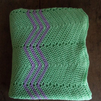 Vintage Blanket Afghan Throw Home & Living Home Decor Handmade Home Decor Bedding Mint Green Purple Lavender Lilac Chevron Soft Cozy Crochet