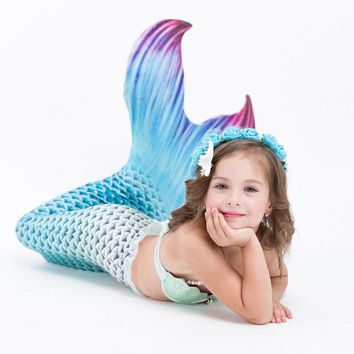 Cupshe Children's Cute Mermaid Tail Swimsuit Cosplay Kids Girls Gilding Mermaid Tail Costume Swimwear Bikini Swimsuit