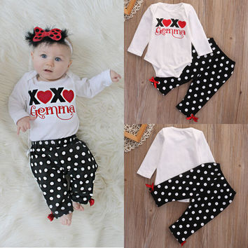 Baby Girl Clothing Set Outfits T-Shirt Tops Romper Long Pants Toddler 2Pcs Baby Boys Girls Clothes Set Cotton