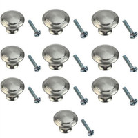 10pcs Round Stainless Steel Cabinet Knobs Easy Use Drawer Knobs Kitchen Cupboard Pull Handles Tool