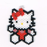 Hand Beaded Hello Kitty earrings
