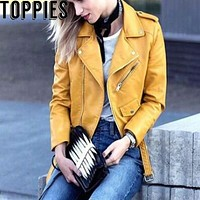 2017 Women Fashion Faux Leather Motorcycle Zipper Jacket PU Leather Moto Jacket in Yellow Pink Color Lapel Collar Jacket