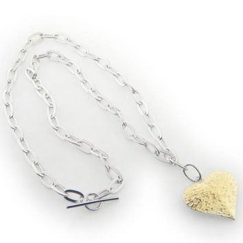 925 Sterling Silver Oval Link Hammered Gold Heart Pendant Necklace