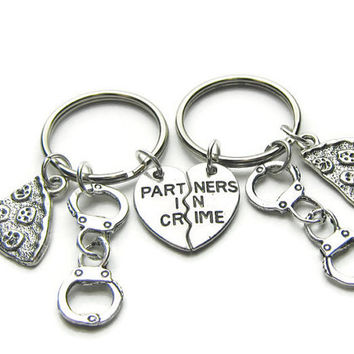 2 Partners In Crime Pizza Handcuff Keychains, Best Friends Keychains, Sisters Keychains, Couples Keychains, Partners In Crime Keychains