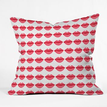 Isa Zapata My Lips Pattern Throw Pillow