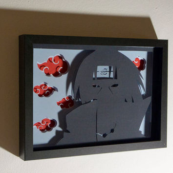 Itachi Akatsuki framed hand paper cut, naruto gift, special wall decor, unique gift, anime fan home decor, kids room wall art, anime gift