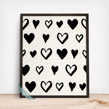 Heart Print, Heart Poster, Heart Decor, Wall Print, Wall Art, Home Decor, Dorm Decor, Gift Idea, Girls Room Art, Mothers Day Gift