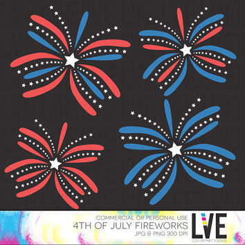 4th of July Fireworks Clip Art Images, Graphics, Images, Digital Clipart Commercial or Personal Usage- Instant Download