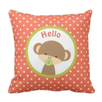 Cute Baby Monkey with a Pacifier on Polka Dots Throw Pillow