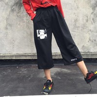 Korean Ulzzang Casual Black Pants Women Men Summer Japanese Harajuku Leisure Loose Thin Harem Pants Elastic Waist Wide Leg Pants