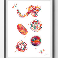 Human viruses watercolor print medical art viruses structure print biology poster Shapes of a Virus science art Viral Morphology anatomy art