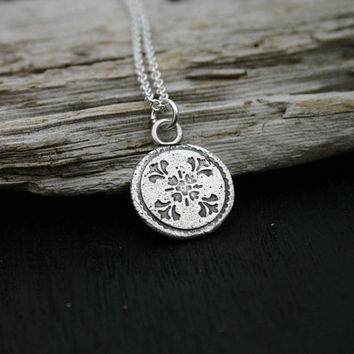 Sterling silver round flower disc pendant necklace. Textured nature disc necklace with sterling silver chain. Handmade, unique, rustic.