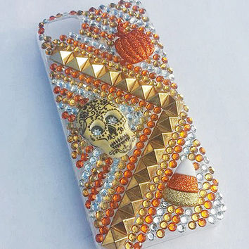 iPhone 4/4s Sugar Skull, Candy Corn, & Pumpkin Bling Rhinestone Case