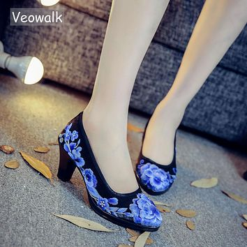 Floral Embroidered Women's Medium Heel Elegant Shoes