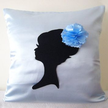 Shabby Chic Girl Portrait Ice Blue Decorative Pillow Cover 17inch Cushion Cover. Light Blue Romantic Sweet Girls Room Decor. Bridal Gift