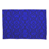 Elegant Royal Blue Lace Print Pillowcase Pair