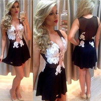 Women Sexy Black V-Neck Crochet Lace Mesh Sleeveless One-piece Mini Dress = 1958447044
