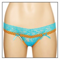 Turquoise Orange Lace Star Thong Size : Medium