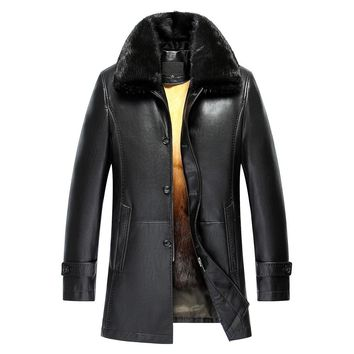 Winter Long Mink Collar Leather Jacket Fur Men Warm Detachable Liner Winter Jacket Men Fur Winter