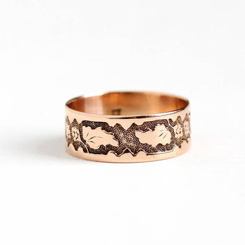 Antique Victorian 10k Rosy Yellow Gold Ring Band - Size 6 Vintage Late 1800s Thick Cigar Fine Wedding Eternity Leaf Flower Grape Jewelry