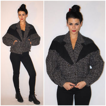 Vintage 80s TWEED Bomber Jacket, Black Leather FAUX REPTILE Dolman Sleeve Double Breasted Jacket by Havoc