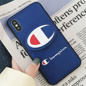 Champion personality couple tide card card iPhone XS Max mobile phone shell leather soft shell Blue