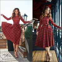 SIMPLE - Red Plaid One Piece Dress a12294