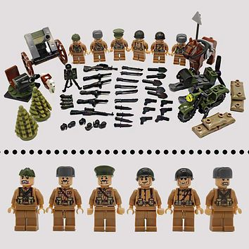 WW2 Army Military Sets Model World War 2 Soldier Gun Weapon Accessories Building Blocks Bricks LegoINGlys Figures Toys Children