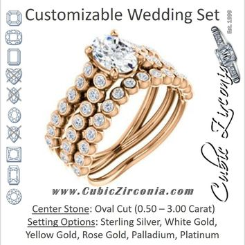 CZ Wedding Set, featuring The Roxana engagement ring (Customizable Oval Cut Design with Beaded-Bezel Round Accents on Wide Split Band)
