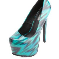 Abstract Ikat Print Patent Platform Pumps - Blue Combo