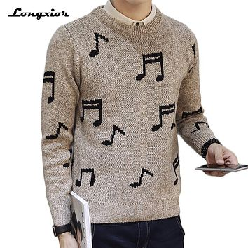 autumn winter sweater men funny pattern printed men's pullovers slim fit knitting mens sweaters and pullovers man pull homme 2xl