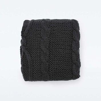 Chunky Knit Black Throw - Urban Outfitters