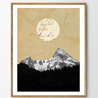 Wilderness - Forest Print, Mountain Art Print, Moon Art, Surreal Art, Mixed Media Collage Art, Nature Art, Landscape Painting