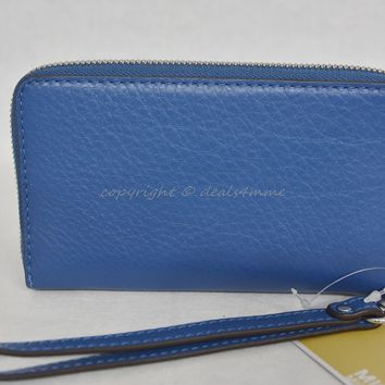 NWT MICHAEL Michael Kors Fulton Multifunction Phone Case Wristlet in Steel Blue