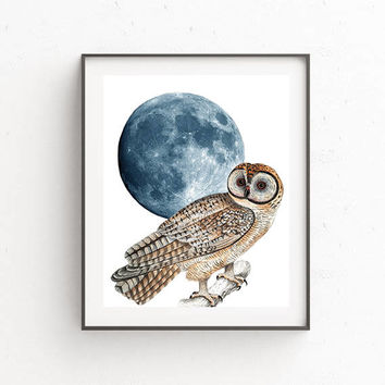 Owl Poster,Printable wall art,Digital download,Moon art,Moon poster,Owl Home Décor,White owl,Owl art,Vintage printable,Owl illustration,Moon