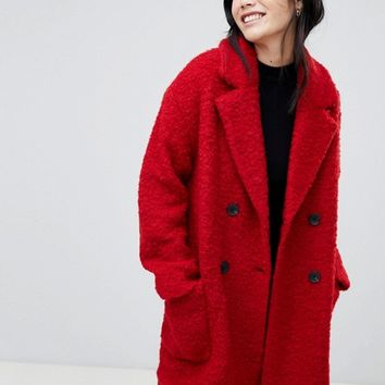 Bershka pocket detail double breasted car coat in red | ASOS