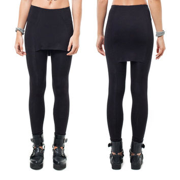 Skirt Leggings - Leggings with front and back skirt panels - Black Anti Pill Viscose jersey - XS, S, M, L
