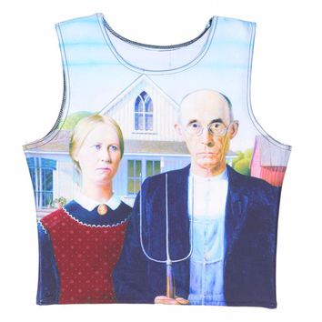 Hipsterme Round collar Cropped Tops ight Happy couples home 3D Print Tank Women Sexy Top Cartoon Midriff clothes