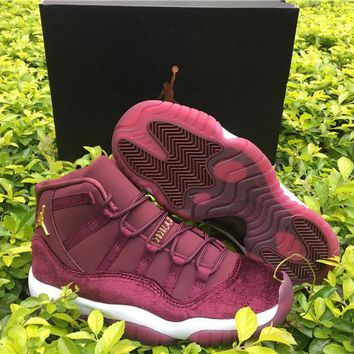 Air Jordan 11 Velvet Heiress Flower Pattern Men Basketball Shoes 11s Velvet Wine Red Night Maroon Sports Sneakers With Shoes Box