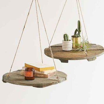 Reclaimed Wood Round Floating Shelf