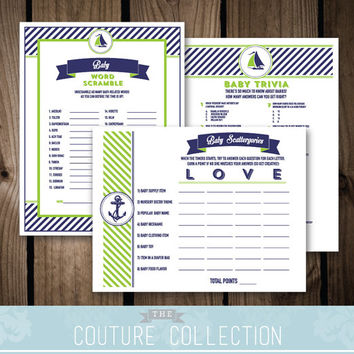 Baby Shower GAME PACKAGE of 3 games - Set 2 - Baby on Board Nautical Preppy Boy Baby Shower Navy and Pink Printable DIY Instant Download