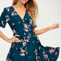 Dalton Teal Blue Floral Print Ruffled Wrap Dress