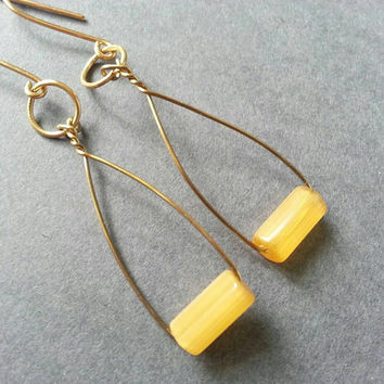Yellow Earrings; Gold Dangle; Geometric; Oval; Curved; Twist; Thin Wire Hoops