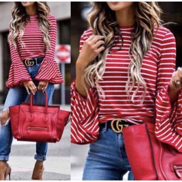 Red Belle Striped Top