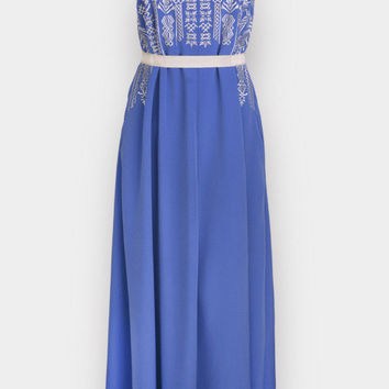 Blue Embroidered Sleeveless Strap Long Dress