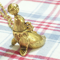 Rare Vintage Max Factor Performing Circus Seal Goldtone Perfume Locket Pendant Necklace TREASURY ITEM